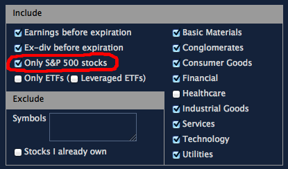 limit to S&P 500 stocks