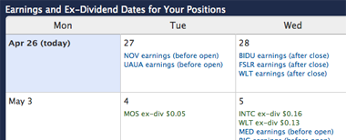 Earnings and Ex-Dividend Calendar